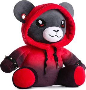 Corimori Plüschtier Ember der Punk-Bär Teddy Gothic mit Hoodie, Tunneln und Stickerei, 28cm, schwarz / rot