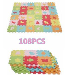 108 stück EVA Tierematte Animals Puzzle Matte  Schaum Spielzeug für Baby Kinder A soft