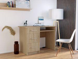 Mirjan24 Schreibtisch Neapol, Computertisch vom Hersteller, mit drei Schubladen, Arbeitszimmer  (Farbe: Sonoma Eiche)