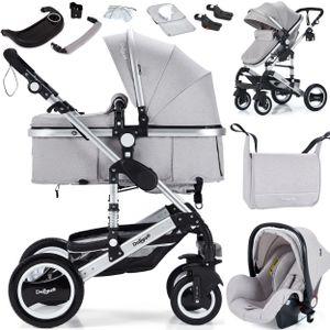 3in1 Kinderwagen Bambimo Kombikinderwagen 14-Teile Set in Elegance Grau incl. Babywanne & Buggy & Auto-Babyschale & Alu-Gestell & Gummireifen & mehr