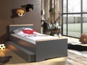 Vipack LONDON Jugendzimmer Set 2-tlg. best. aus: Einzelbett LF 90 x 200 cm und Bettschublade, Ausf. Nachbildung Anthrazit, Absatz Buche natur massiv Anthrazit/Buche