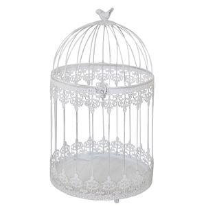 Deko-Vogelkäfig FRIDA weiß shabby chic Käfig mit Ornamentmuster Landhaus - GROSS