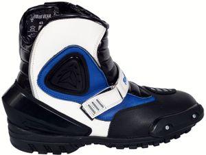 Motorradstiefel Motorrad Sport Touring Stiefel Blau, Orange, Schwarz, Gelb, Grau 21cm, Schuhgröße:45, Farbe:Grau