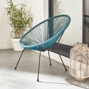 ACAPULCO eiförmiger Sessel - Entenblau - 4-beiniger Sessel im Retro-Design, Kunststoffschnur, innen / außen
