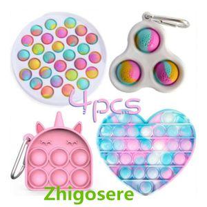 4 Stück / Set Pop it Push Bubble Fidget Antistress Toys Erwachsene Kinder Pop Fidget Sensory Toy