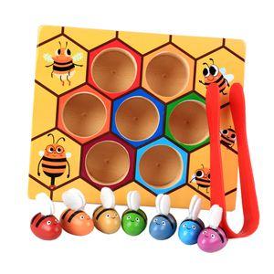 Kinder Holzspielzeug, Bienen-Klippkasten Stellten, Baby Montessori Pädagogisches Spielzeug