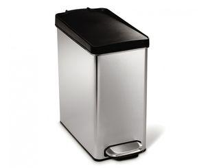 simplehuman 10L profil Abfalleimer mit Kunststoffdeckel, Treteimer, gebürsteter Edelstahl; CW1180CB