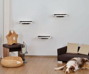 animal-design Katzen Kletterwand 3-teilig WALL Katzenmöbel platzsparende stabile Katzentreppe für die Wand aus Plüsch grau/weiß, Farbe:grau