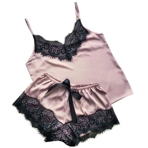 Satin Silk Pyjamas Bogen Nachthemd Dessous Frauen Unterwäsche Nachtwäsche Satin Größe:S,Farbe:Rosa