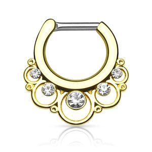 Nasenpiercing Septum Ring Clicker Nasenring Chirurgenstahl Piercing Nase Zirkonia Kristall Strass gold
