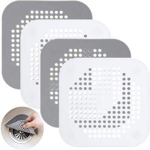 4 Stück Abflusssieb Dusche Haarsieb Silikon Abflussschutz mit Saugnapf, Haarsieb Waschbecken Duschablauf Abfluss Sieb für Küche Badezimmer Bad