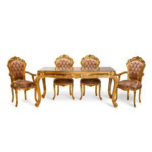 Esstisch mit 6 Stühlen im Französichem Stil in Blattgold