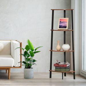 Bücherregal mit 4 Ebenen Vintage Eckregal Winkelregal Leiterregal 4 Ebenen Eckschrank Leiterregal Pflanzen Ständer
