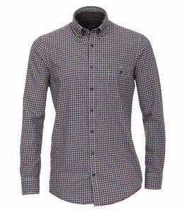 Casa Moda - Casual Fit - Herren Langarm Hemd kariert mit Button-Down-Kragen (483088300), Größe:M, Farbe:Anthrazit (750)