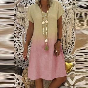 Damen Casual Fashion Lose Farbverlauf Print V-Ausschnitt Kurzarm Kleid Größe:L,Farbe:Ocker
