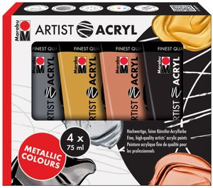 "Marabu Acrylfarben Set ""Artist Acryl"" Metallic 4 x 75 ml"