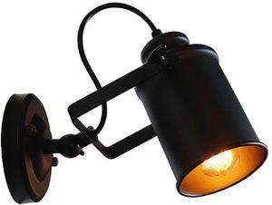 Retro Verstellbar Wandleuchte Wandlampe schwarz Metal Lampenschirm für Landhaus Schlafzimmer Wohnzimmer Esstisch (Type B) [Energieklasse A++]