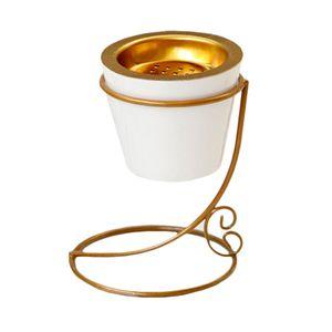 Räuchergefäß Keramik Weihrauchbrenner Weihrauchbehälter mit Gold-Metallständer