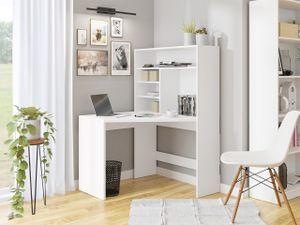 Mirjan24 Eckschreibtisch Zayden, Schreibtisch L-Form, Ecktisch vom Hersteller, Jugendzimmer, Regal (Farbe: Weiß)