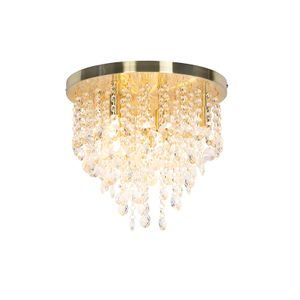 QAZQA - Art Deco Klassische Deckenleuchte | Deckenlampe | Lampe | Leuchte Gold | Messing | Messing 35 cm - Medusa | Wohnzimmer | Schlafzimmer | Küche - Glas Rund - LED geeignet G9