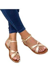 Damen Klassische Sandalen Sommer Einfarbig Einfache Flache Schuhe Bequeme Freizeitschuhe,Farbe:Champagner,Größe: 38