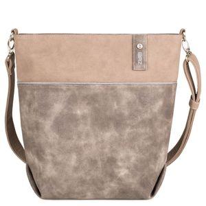ZWEI Umhängetasche Schultertasche Handtasche JANA J12, Farbe:taupe