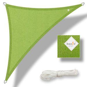 hanSe® Marken Sonnensegel HDPE Dreieck 5x5x5m Limegrün UV-Schutz Sonnenschutz Schattenspender
