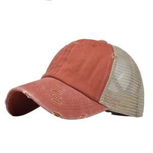 Frauen zerrissene Anti-UV-Netz Pferdeschwanz Hut verstellbare Outdoor-Sport Baseball Cap