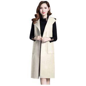 Frauen arbeiten solide Vintage Winter Office ärmellose Knopf Wolle Jacke Mantel Größe:XL,Farbe:Beige