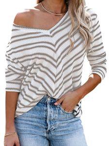 Damen Pullover Pulli Strickpullover Langarm Sweatshirt Casual Warm Sweater Tops,Farbe: Grau,Größe:M