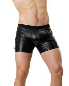 Bockle® Boxer Lamb sexy Leder Pants Shorts Underwear echt Lamm Leder Slip Brief Herren, M