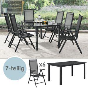 Juskys Aluminium Gartengarnitur Milano Gartenmöbel Set mit Tisch und 6 Stühlen dunkel-grau mit schwarzer Kunstfaser Alu Sitzgruppe Balkonmöbel