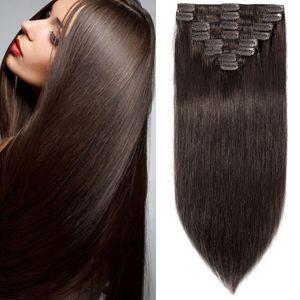 S-noilite Clip in Extensions Echthaar Haarverlängerung Haarteil 8 teiliges SET Remy Haar Dunkelbraun 55 cm