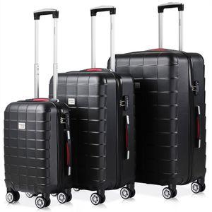 Monzana® Kofferset 3tlg Trolley Reisekoffer Hartschale M L XL Koffer Rollen Case, Farbe:3er Set schwarz