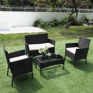Bigzzia Rattan Gartenmöbel Set, Polytattan Lounge Gartenmöbel Set mit Sofa, Lounge Sessel, Tisch und Hockern, 2 * Sessel + 1 * Doppelsitz-Sofa + 1 * Tisch + 3 * Kissen, Schwarz