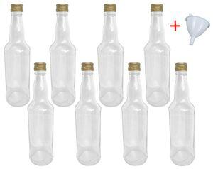 Glasflaschen 500 ml mit Schraubverschluss zum selbst Befüllen für Öl Likör Schnaps Bier Wasser Flasche leere Flaschen inkl. Trichter, Stückzahl:8x