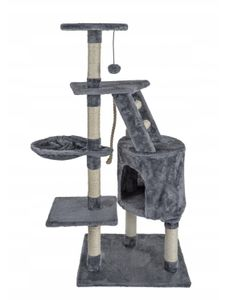 """Kratzbaum Katzenbaum, Modell """"Findus"""" Anthrazit, Katzenkratzbaum Katzenmöbel mit Sisal-Seil Plüsch Liege höhlen Spielhaus Spielzeug für Katzen"""