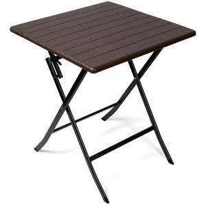 Vanage Gartentisch Klapptisch Balkontisch Klappbar Rattan Tisch braun Holzoptik