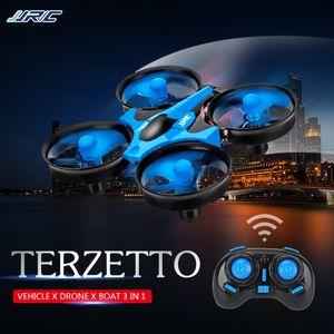 JJRC H36F TERZETTO 3 in 1 Drohne Boot Auto Wassermodus Bodenmodus Luftmodus 3-Modus Hoehe halten Headless-Modus RC Quadcopter Geschenk fuer Kinder