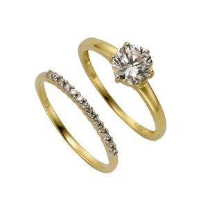 Celesta Gold Ring-Set 375/- Gold gelb 058 (18,5) Zirkonia weiß 360370496-2