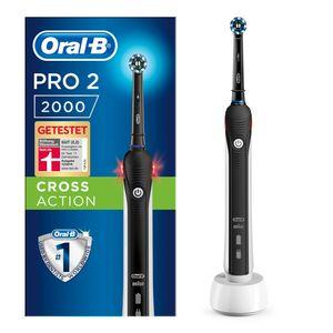 Oral-B Pro 2 2000 Black Edition Elektrische Zahnbürste, mit visueller Andruckkontrolle für extra Zahnfleischschutz, schwarz