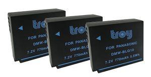 3x TROY Akku für Panasonic DMW-BLG10 DMW-BLG10E für Lumix DMC-TZ81 DMC-TZ101