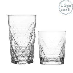 LAV 12 Stück Keops Art Deco Glas Set - Vintage Glasschliffhighball Cocktail Whiskey Tumblers - 460ml | 345ml