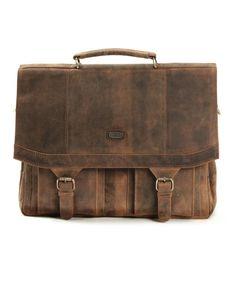 HAROLD´s Antic Heritage Aktenmappe medium Tasche mit Klappverschluss mit Steckverschluss, Henkelgriff und Schultergurt Rindsleder natur