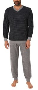 Lässiger Herren Frottee Pyjama langarm mit Bündchen in Ringel - Optik - 291 101 13 784, Farbe:schwarz, Größe:52
