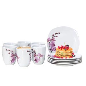 Frühstücksset 12-tlg. Kyoto Orchidee leicht eckig Porzellan für 6 Personen weiß mit Nachbildung