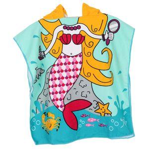 Kinder Badeponcho Handtuch Bademantel Strandtuch Kapuzentuch Kapuzenhandtuch für Jungen Mädchen Farbe Blaue Meerjungfrau