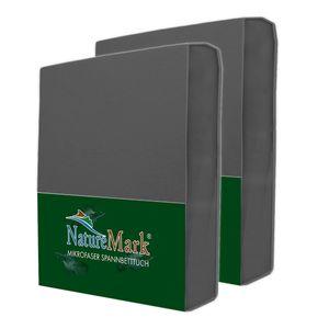 NatureMark 2er Pack MICROFASER Spannbettlaken  | 120x200 cm - anthrazit grau