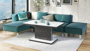 Design Couchtisch Tisch Aston Weiß Hochglanz / Anthrazit Hochglanz stufenlos höhenverstellbar ausziehbar 120 bis 200cm Esstisch