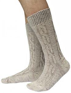 Kurze Trachtensocken Trachtenstrümpfe Zopf muster Socken 44cm Meliert, Größe:44-46